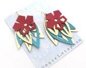 Red Leather Flower Earrings