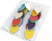 Multi Color Leather Cascade Earrings