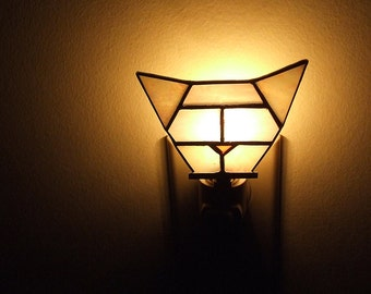 Stained Glass Cat Night Light, Hex Cat Night Light, gift for cat lovers, crazy cat lady, geometric home decor