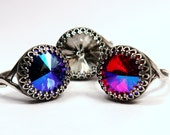Swarovski Crystal Cocktail Ring Indigo Blue Dark Hot Fuchsia Pink Fiery Silver Metallic Crown You Choose Color and Finish Sparkle