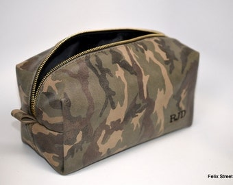Large Camouflage Leather Dopp Bag with Free Monogram and Optional Interior Message