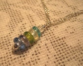 Pastel Glass Gems  Silver Girl's Necklace - FREE SHIPPING