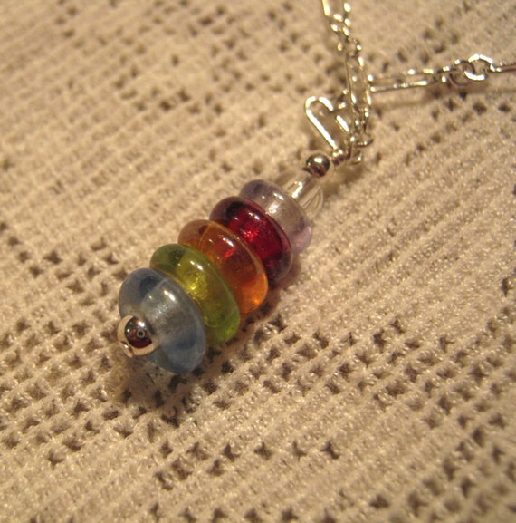 Girls Rainbow Glass Gems Silver Necklace - FREE SHIPPING