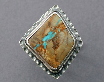Royston Ribbon Turquoise and Oxidized Silver Patterned Ring