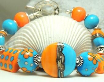SUMMER HORIZON Handmade Lampwork Bead Bracelet