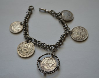 Vintage 1950s Coro Coin Bracelet Austrian and Canadian Coins