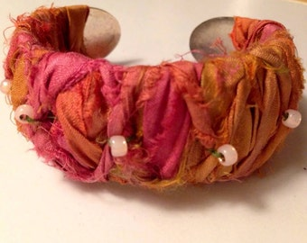 Boho   wrist cuff bracelet   FREE SHIPPING Romantic, Baroque,French, gypsy, Sari silk and Japanese beads