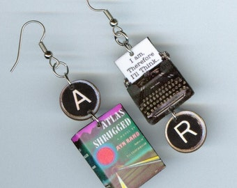 Book Earrings Atlas Shrugged - Typewriter key jewelry -  Ayn Rand - teacher's librarian reader's bookworm literary gift