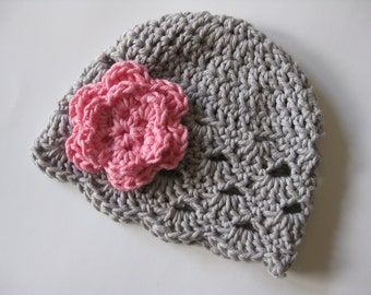 Baby Girl Hat, Baby Girl Beanie, Baby Hat, Crochet Baby Hat, Baby Newborn Hat, Newborn Beanie, Grey Pink, Newborn Prop, Newborn Baby Beanie