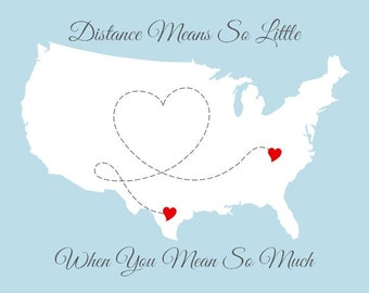 Personalized Map, Long Distance USA Map With Heart, Distance Means So Little, United States Map Print 11x14, Mother's Day Gift for Mom