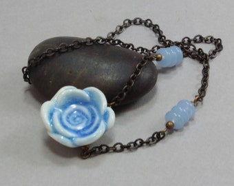 Blue Porcelain Rose and Natural Brass Necklace - Hand Sculpted Ceramic Bead - Original Wearable Art