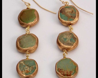 ELEGANTLY TURQUOISE - Fab Turquoise Smothered in Gold Long Dramatic Earrings