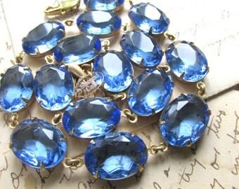 "Anna Wintour necklace, collet necklace, sapphire necklace, light blue statement necklace, choker necklace. ""Cool Waters"""
