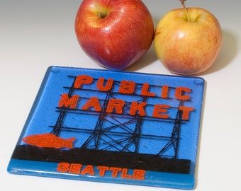 Greetings from Seattle Fused Glass Trivet, Pike's Place, made to order