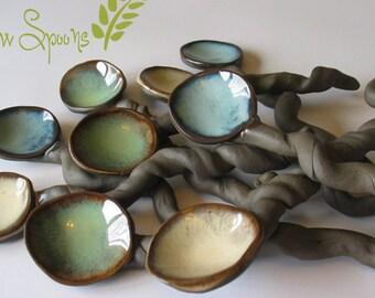 "Ceramic Spoon - ""Willow Spoon"" - Woodland styled Hand made Stoneware Sugar spoon - Salt Spoon - Utensil - Tea Spoon"