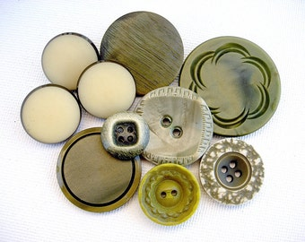 Neat Lot of Various Vintage Buttons-Celluloid-Plastic