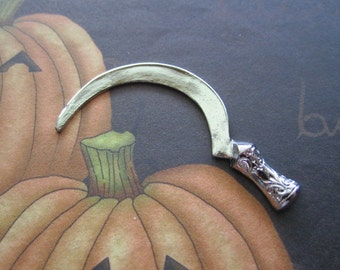 Sickle Halloween Gothic Stamping Silver Tone on Etsy USA Made x 1