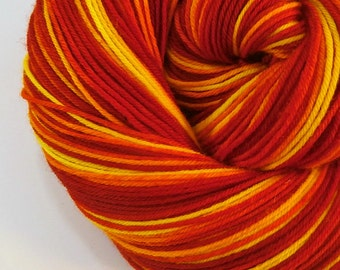 hand dyed sock yarn superwash merino nylon fingering FIREFLY 460 yds.