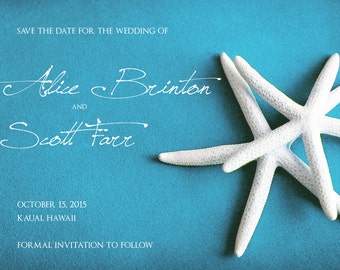25 cards per set- save the date wedding cards  - White Starfish