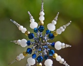 Gold, White and Blue Snowflake Ornament