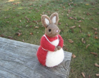 Needle Felted Rabbit Miss Belle Bunny Figure