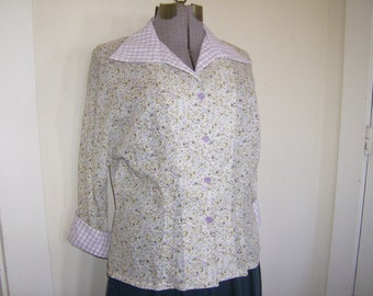 Floral Retro Blouse, 50's style Italian Blouse, 50's Retro Style Blouse, Rockabilly Style
