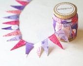 Girls Pink and Purple Princess mix Cake Bunting. fabric mini Ribbon. Cake toper and invitation bunting