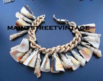 Vintage Germany Trumpet Shells Dangle Bracelet 1950s