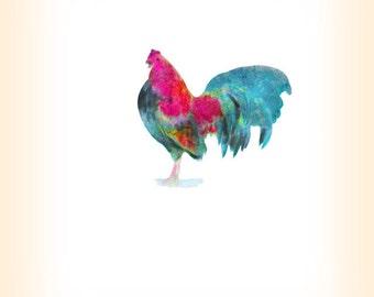 Bantam Cockerel Print - Farm Animal Art - Rooster Cock Chicken Art