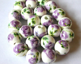 10mm Porcelain Beads with Purple Flowers (20)