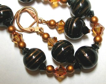 Copper and Black Bracelet and Earring Set
