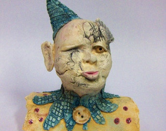 handmade, small, funny face, figurative sculpture