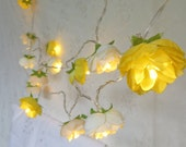 Evening Rose Garden Fairy Lights Pretty Flower String Lighting  in Spring Yellow, Parchment and Apple White