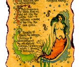 Contemplations Mermaid Poetry Art Greeting Card by Carole Anzolletti