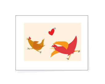 Greeting card funny chickens  card hey come back here I love you