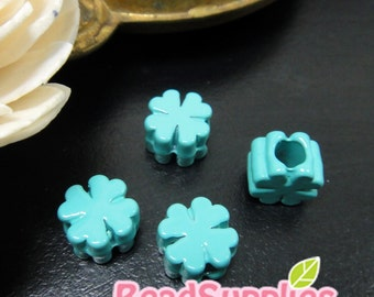 BE-ME-01001D - Color enameled, lucky leaf beads, lake green, 8 pcs