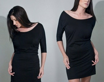 Black Dress • Women's Mini Tunic • Dolman Sleeve Dresses • Loft 415 Clothing (No. 805)
