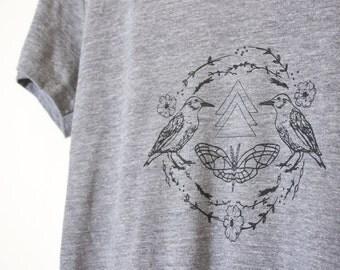 Graphic Tee, Women's Print Soft Cotton T-Shirt for Women, Nature Bird Starling & Entomology Moth