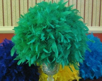"10"" chandelle feather kissingi ball, feather ball, 8 colors of green, feather centerpiece, olive, lime, hunter, kelly"