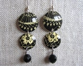 Antique Lace Recycled Vintage Tin Earrings, Tiered, with Onyx and Sterling Silver