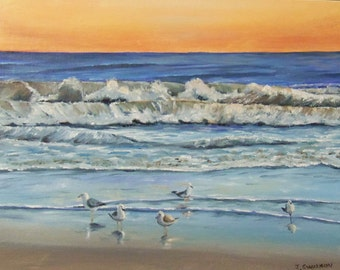 Serenity Original Oil painting of Seashore sunrise with sea gulls 8 x 10 inches florida beach FREE SHIPPING