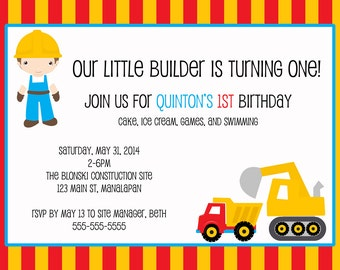 construction printable birthday invitation, 5x7, do it yourself