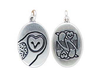 Sterling Silver Barn Owl Necklace - Silver Owl Pendant - Owl Medallion