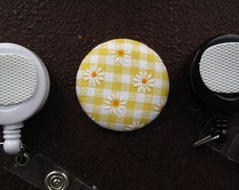 White Flowers on Yellow Gingham Fabric Covered Button for Clip on Retractable Badge Reel
