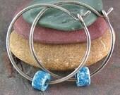 Sterling Silver Hoop Earrings Rustic Jewelry Oxidized Silver Greek Ceramic Mykonos Beads Blue Denim 1 Inch Small Hoops Recycled Silver