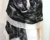 Felt Wool Shawl-Scarf Black-White sheer cashmere-soft nuno merino silk fiber art