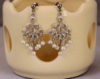 Silver and Crystal/Pearl Fan Earrings in Choice of Colors