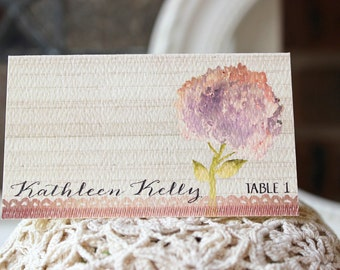 Wedding Reception Escort or Place Card Watercolor Hydrangea Weathered Wood Rustic Garden Wedding