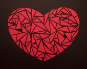 Cut Paper Heart Made of Triangles - Handmade