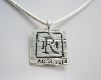 Mens Wedding Anniversary Monogrammed Christian Necklace - Custom Pendant, Sterling Silver Snake Chain, Life Verse - LIFE of LOVE Collection